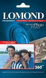 Бумага Lomond 260 г/м, полуглянец, 10х15, 20л. Код 1103300