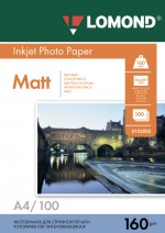 Бумага Lomond 160 г/м, матт, А4 100л. Код 0102005
