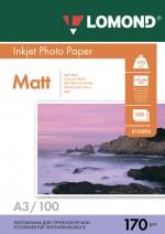 Бумага Lomond 170 г/м, Матт / матт двусторонняя, А3, 100л. Код 0102012