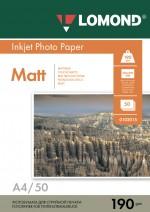 Бумага Lomond 190 г/м, Матт/матт. ,А4 50л. Код 0102015