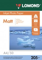 Бумага Lomond 205 г/м, Матт ,А4 50л. Код 0102085